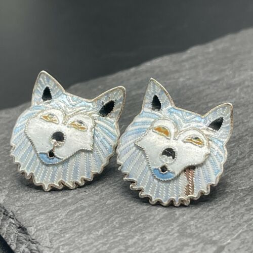 Vintage 925 Sterling Silver Post Earrings with Blue Arctic Wolf Enamel Inlay