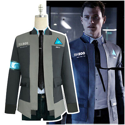 Detroit: Become Human RK800 Connor Outfit Cosplay Mens Jacket Coat Suit Costume