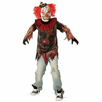 Circus Sideshow Halloween Costumes (Sideshow Psycho Clown Halloween Costume Boys Child Scary Evil Teen 10-16)