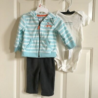 CARTERS 12 MOS. INFANT BOYS 3-PC ZIP-UP HOODIE, BODYSUIT & PANTS, NWT, 12 MOS.