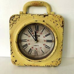 Old Town Clock 67 Bailey St. Vintage Look Metal Clock Yellow Rusted 7 Square