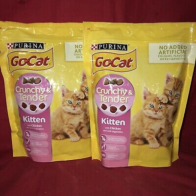 2 x Go Cat Dry Kitten Food Chicken GROWTH SUPPORT 800g Heathy Bone Muscle Teeth