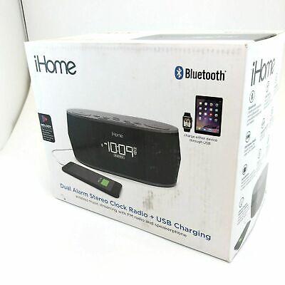 iHome Wireless Bluetooth Stereo Dual FM Alarm Clock Radio USB Charging Alarm