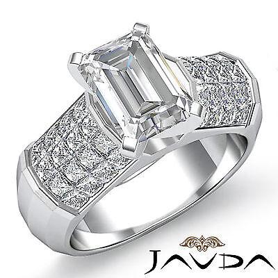 4 Prong Invisible Setting Emerald Shape Diamond Engagement Ring GIA I VS2 2.2Ct