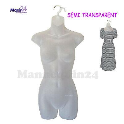 Female Hanging Dress Mannequin Form - Clear - Semi Transparent - Women Torso