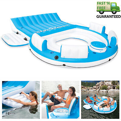 7 Person Large Inflatable Floating Island W/ Cooler Lounge Lake Party Pool Raft - Inflatable Party Raft