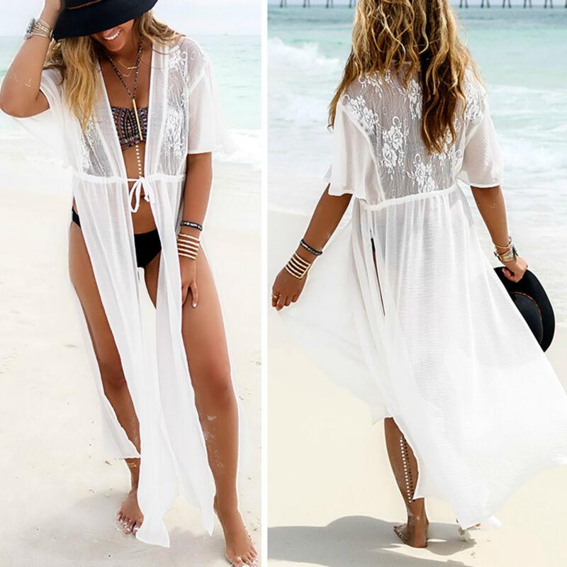 Damen Sexy Spitze Bikini Cover Up Maxi Kleid Vertuschung Sommer Strandkleid Lang