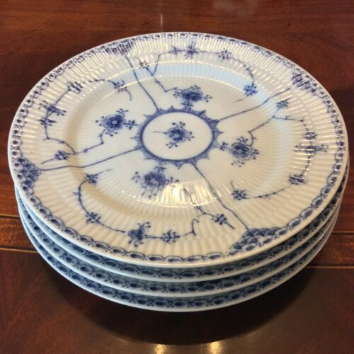 4 Blue Fjord Dinner Plates Lipper & Mann Blue & White Dinnerware