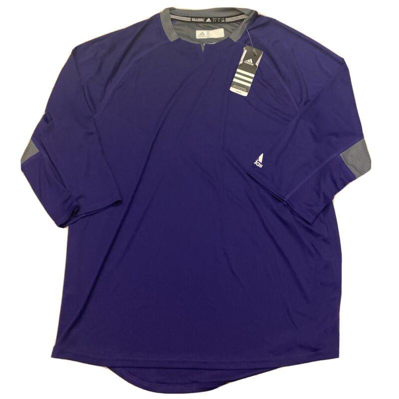 Adidas Mens Climalite Fielders Choice V Neck Batting Jacket Purple Gray Sz L