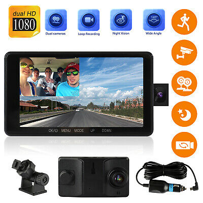 """4"""" 1080P Dual Dash Cam Night Vision Front and Inside Camera Car Driving Recorder"""