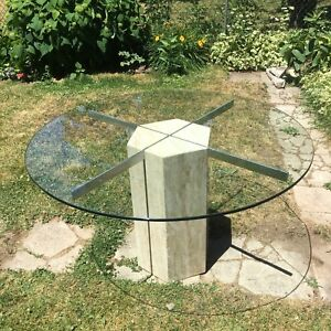 Marble Hexagon and Thick Glass Dining Table