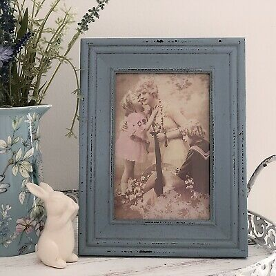 Vintage Style Home Decor (VINTAGE STYLE  BLUE WOODEN PHOTO PICTURE FRAME 4 X 6INCH RUSTIC WOOD HOME DECOR)