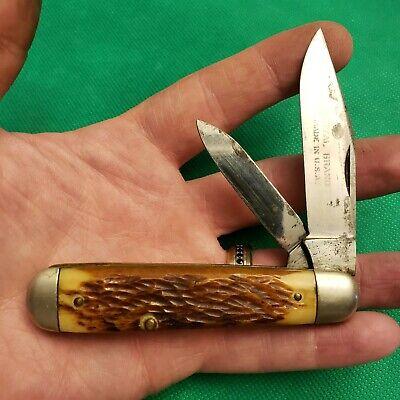Old Vintage Royal Brand Queen Steel Cigar Bone Stag Jack Pocket Knife Knives