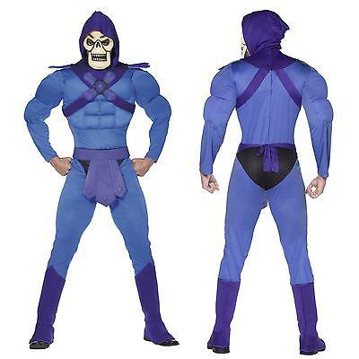 Official Skeletor He-Man Muscle Chest Blue Fancy Dress Jumpsuit Keldor Grayskull - Skeletor Costumes