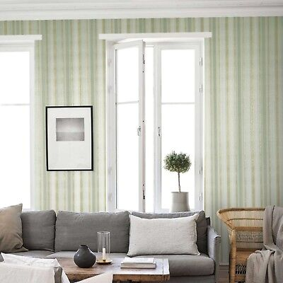 (Embossed modern Wallpaper green gold metallic stripes stria lines textured rolls)