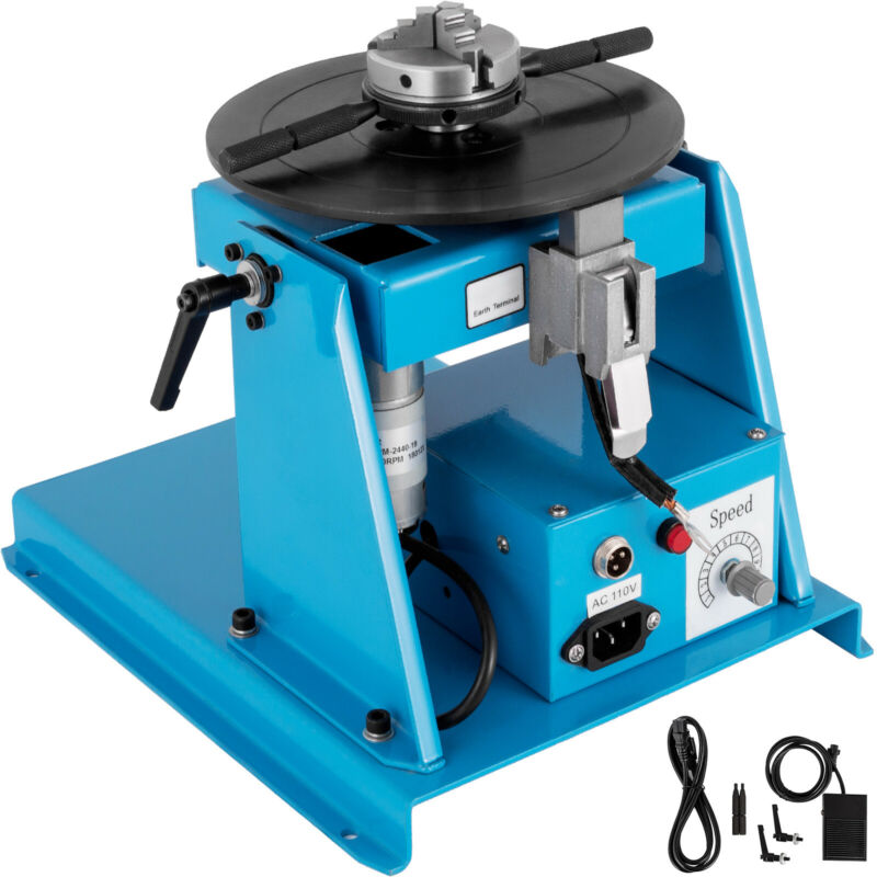 """US 110V Rotary Welding Positioner Turntable Table 2.5"""" 3 Jaw Lathe Chuck 2-20RPM"""