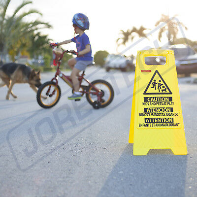 Caution Kids and Pets at Play- Folding Safety Sign Warning Bright 2 Sided Caution Children Playing Signs