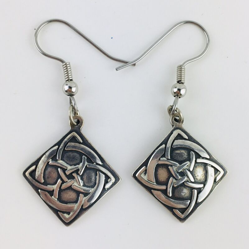 925 Sterling Silver - Vintage Shiny Celtic Knot  Dangle Earrings Signed WJ