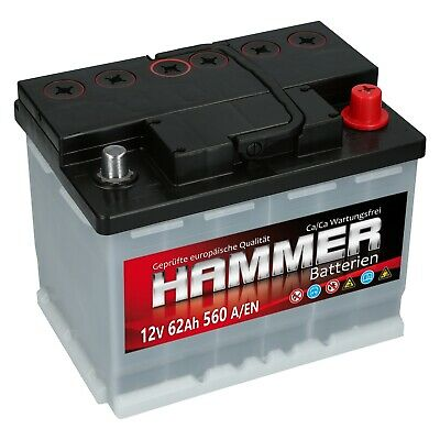 HAMMER 12V 62 Ah 560A EN AUTOBATTERIE ersetzt 55Ah 56Ah 57Ah 60Ah 63Ah 64Ah