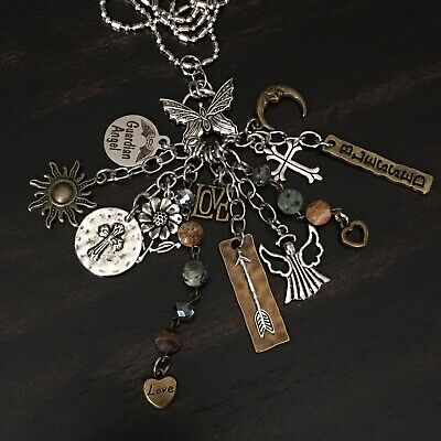 Boho Peace Love Flower Butterfly Heart Guardian Angel Charm Necklace Jewelry G2 Peace Heart Necklace