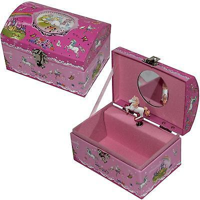 Schmuckschatulle rosa Pferd Schmuckkästchen mit Spieluhr Melodie Schwanensee