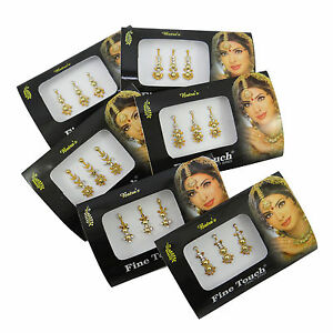 Lot Of 6 Full Packs Of Assorted Bindis Indian Tattoos Tikkas Jewelry-EBIN303