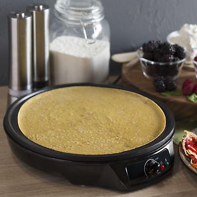BCP 12in Non-Stick Pancake Crepe Maker w/ Spatula, Spreader - Black