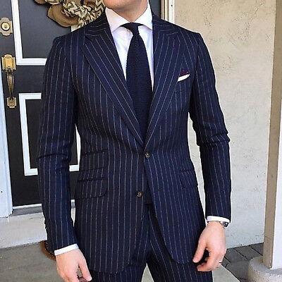 Hombre Azul Rayas Traje Elegante de Diseño Boda Informal Cena (Abrigo+Pantalón)