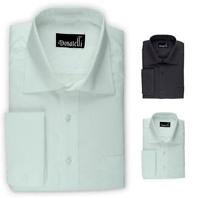 Donatelli Big & Tall French Cuff Dress Shirt | Classic Fit Spread Collar Poplin Big And Tall French Cuff Dress Shirts
