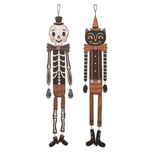 """37.75"""" Set/2 Johanna Parker Skeleton Black Cat Halloween Retro Vntg Door Decor"""