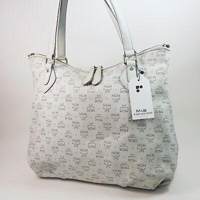 Authentic MCM Visetos Coated Linen Shopper Bag White C3223 Tote Guarantee MA288