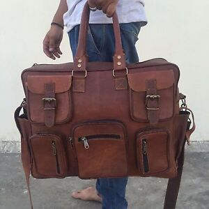 Large Handcrafted Vintage Genuine 100% Leather Holdall Duffle Travel Bag Weekend