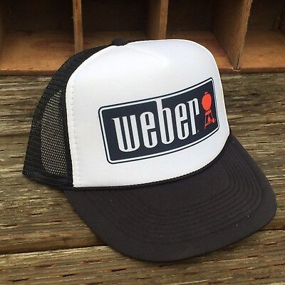 Weber Grill BBQ Dad Party Vintage Style 80's Trucker Hat Snapback Mesh Black