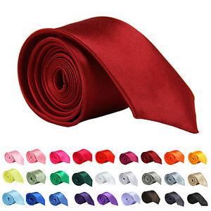 New-Mens-Slim-Skinny-Solid-Color-Plain-Satin-Tie-Necktie