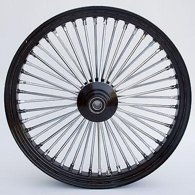 """Black & Chrome 48 King Spoke 23"""" x 3.5"""" Front Wheel for Harley and Custom Models"""