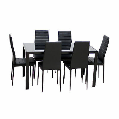 سفرة جديد 7 Piece Glass Top Metal Dining Set Kitchen Table Chairs Furniture Black