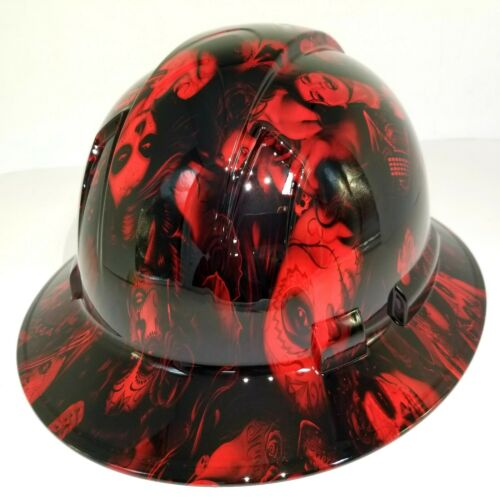 FULL BRIM Hard Hat custom hydro dipped, NEW CANDY  RADIOACTIVE RED BANDITO GIRLS 2