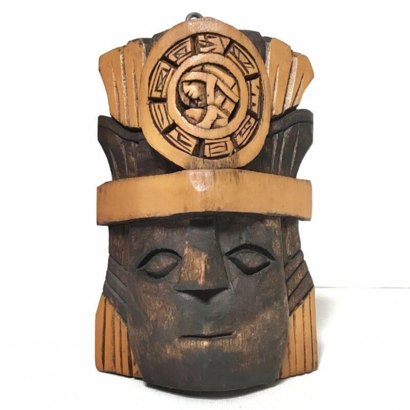 Vintage Mayan Aztec Tribal Wood Mask Handmade Carved Inca Maya Rustic Wooden