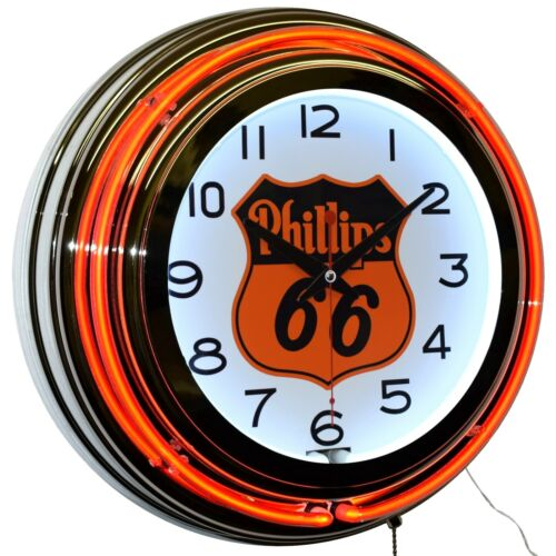 "Phillips 66 Gas Oil Orange Double Neon Clock Man Cave Garage Decor (15"")"