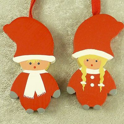 Painted Wood Boy & Girl Elf Tomte Scandinavian Christmas Ornaments Sweden -3""