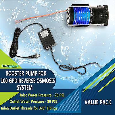 Booster Pump with Transformer Adapter for 100 GPD Reverse Osmosis System