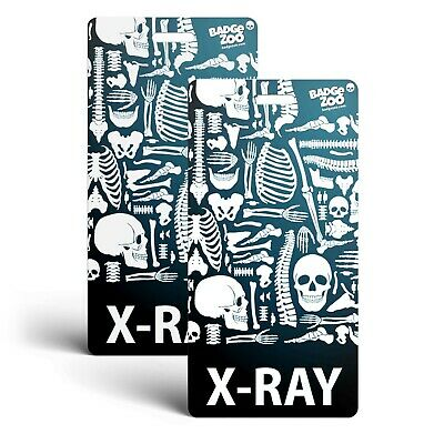 X-ray Badge Buddy - Black - Skeleton Themed - Radiology Vertical Badge Id Card