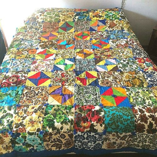 """New Home Made Vintage Upholstery Square Quilt Blanket Unused Cotton 76"""" x 90"""""""