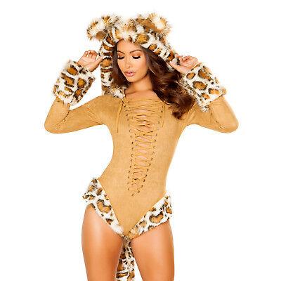 Leopard Kostüm Body Ohren Schwanz Kapuze Größenwahl Fasching Karneval - Leopard Kostüm Ohren