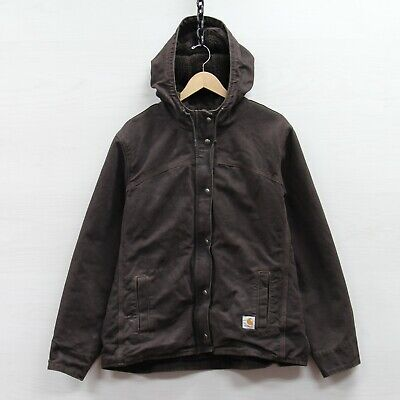 Carhartt Canvas Jacket Size Youth XL 16-18 Brown Sherpa Lined Hooded