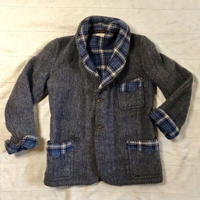 """1930s Shawl Collar Wool Cardigan Mens Sweater L - XL 42"""" - 44"""""""