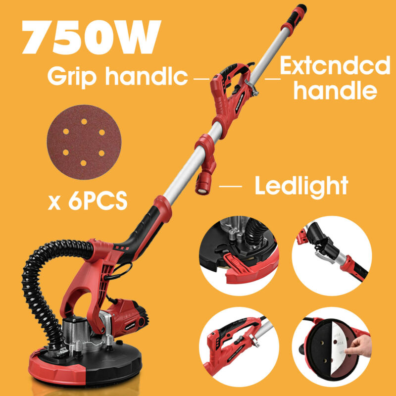 Electric Drywall Sander Tool 750W Variable Adjustable 5-Speed Sand Pad+LED Light
