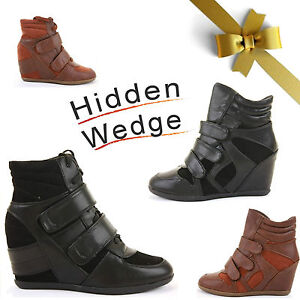 WOMENS-LADIES-HIGH-TOP-HIGH-HEEL-LACE-WEDGE-HI-TRAINER-ANKLE-BOOTS-BOOTIES-SIZE