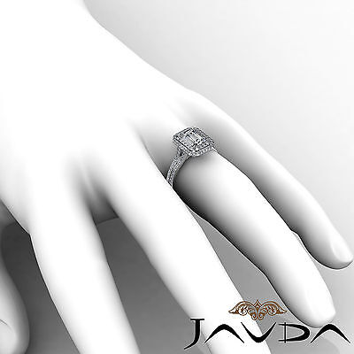 Double Halo Pave Split Shank Emerald Diamond Engagement Ring GIA H VS2 2.6 Ct 5