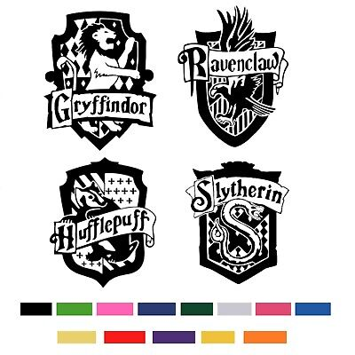 Harry Potter Hogwarts House Shields Cut Vinyl Sticker Coats Of Arms Boys Decals